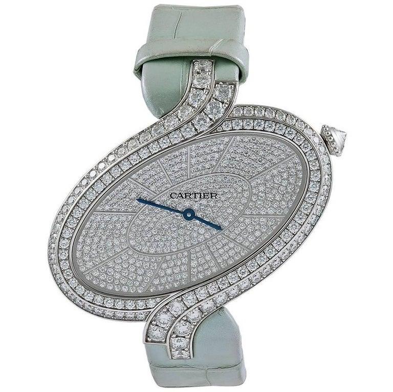 Cartier ladies white gold diamond Délices de Cartier Wristwatch