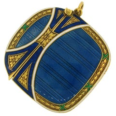 Lacloche Freres Enamel Yellow Gold Pedant with Secret Compartment