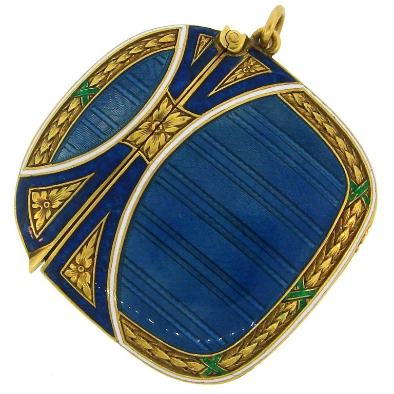 Lacloche Freres Enamel Yellow Gold Pedant with Secret Compartment 1
