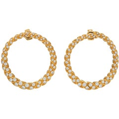 Victorian 18 Karat Gold Diamond Hoops