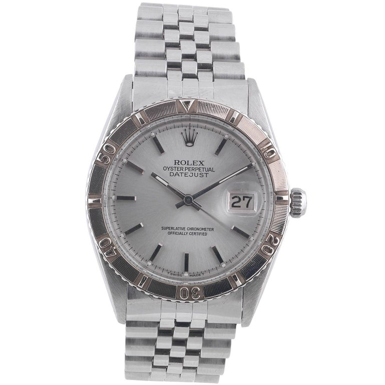 "Rolex White Gold Stainless Steel Datejust Turn-O-Graph ""Thunderbird"" Wristwatch For Sale"