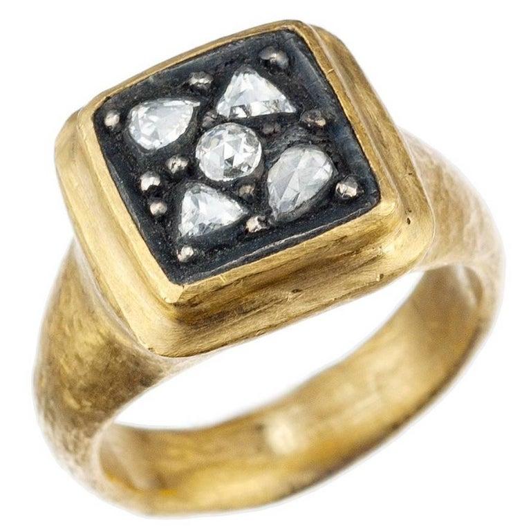 "Yossi Harari ""Gilver"" Diamond Ring in 24 Karat Yellow Gold and Sterling Silve"