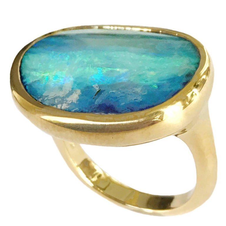 Dalben Australian Boulder Opal Yellow Gold Ring