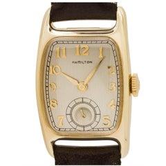Hamilton Yellow Gold Boulton Tonneau Case Manual Wristwatch, circa 1940s