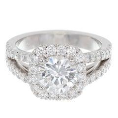 Peter Suchy GIA Certified 1.50 Carat Diamond Engagement Platinum Ring