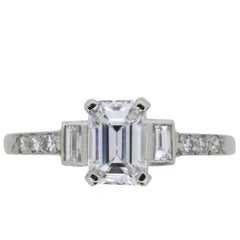 Late Deco Emerald Cut Diamond Engagement Ring, circa 1930s