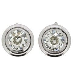 Art Deco 1.80 Carat Each Diamond Earrings, circa 1920s