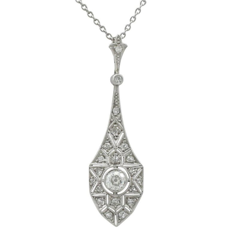1920s Art Deco 0.94 Carat Diamond 18 Karat White Gold Pendant