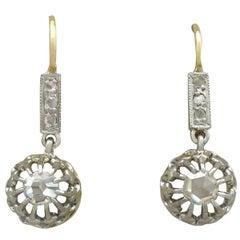 1910s French 0.26 Carat Diamond 18 Karat Yellow Gold Drop Earrings
