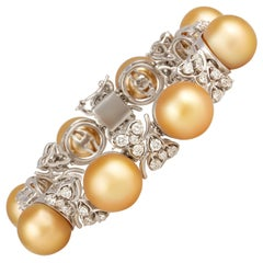 Ella Gafter Golden South Sea Pearl Diamond Bracelet