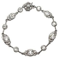 14.40 Carat Victorian Old European Cut Diamond Platinum Bracelet