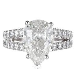 Peter Suchy GIA Certified 3.58 Carat Pear Diamond Platinum Engagement Ring
