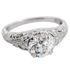 Art Deco 2.19 Carat Old European Cut Diamond White Gold Ring