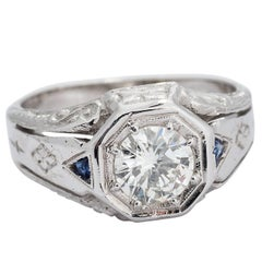 Art Deco 1.11 Carat Round Diamond and Sapphire White Gold Ring