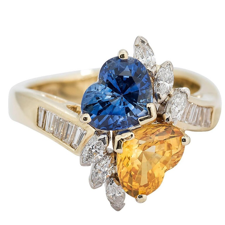 Hammerman Heart Shape Orange and Blue Sapphire and Diamond Yellow Gold Ring For Sale