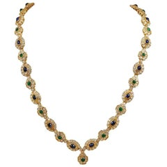 Harry Winston Diamond Cabochon Emerald Sapphire Necklace Bracelet