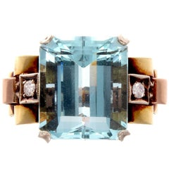 Retro Aquamarine Diamond Gold Ring