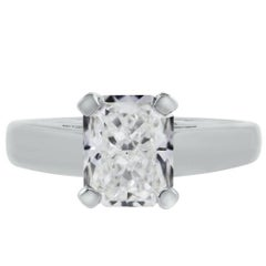 GIA Certified 2.05 Carat Radiant Cut Diamond Solitaire Engagement Ring