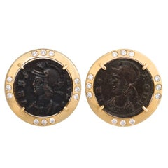 Ella Gafter Antique Coin and Diamond Yellow Gold Cufflinks