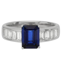 Emerald Cut Sapphire and Diamond Platinum Ring