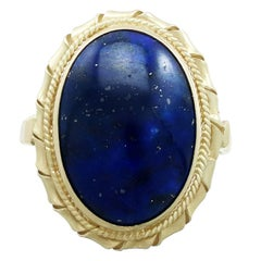 1960s Italian 5.90 Carat Lapis Lazuli 18 Karat Yellow Gold Dress Ring