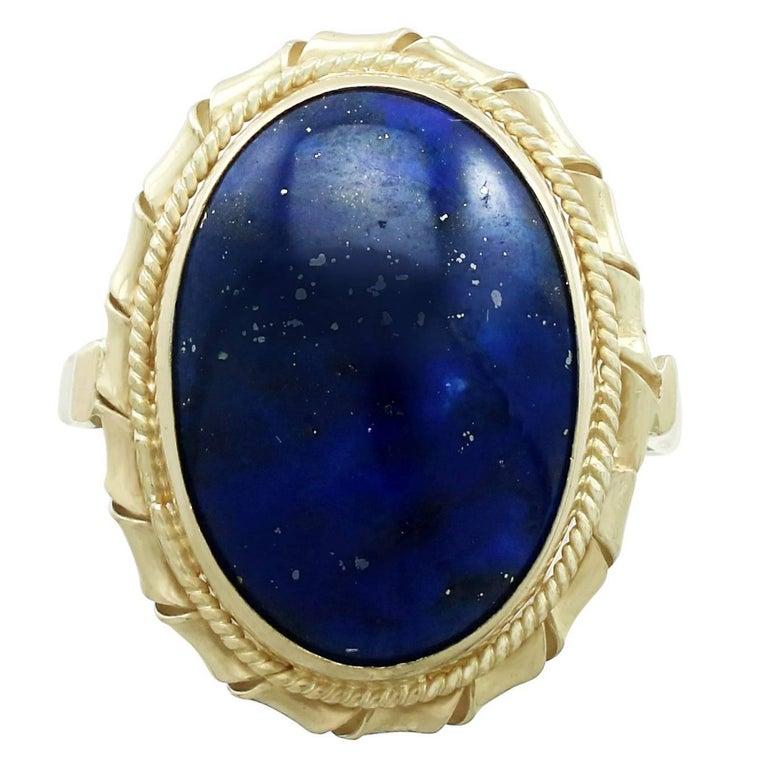 1960s Italian 5.90 Carat Lapis Lazuli 18 Karat Yellow Gold Dress Ring