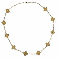 Van Cleef & Arpels Vintage Alhambra Ten Motif Gold Necklace