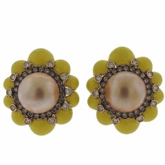 Fancy Diamond Pearl Yellow Enamel Gold Earrings