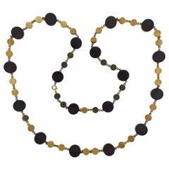 1970s Ebony Wood Gold Long Necklace
