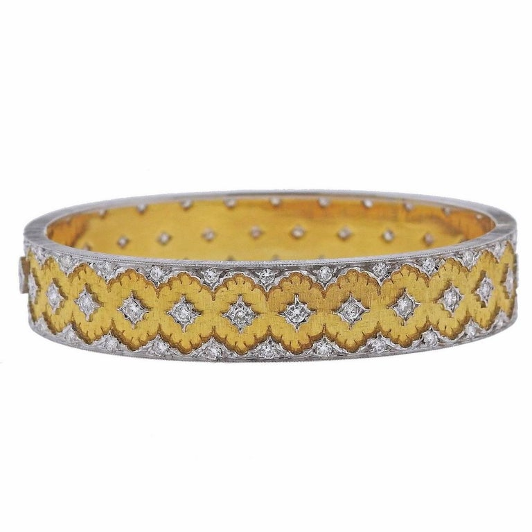 Buccellati Diamond Gold Bangle Bracelet