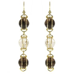 Triple Doppio Faceted Smokey Topaz and Crystal Ball Earrings