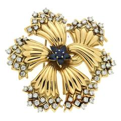 Harvest Time Sapphire Diamond Gold Brooch