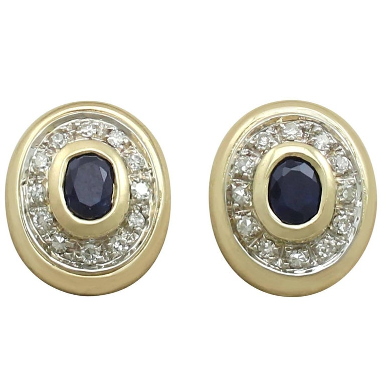 1990s Sapphire and Diamond Yellow Gold Clip-On Earrings