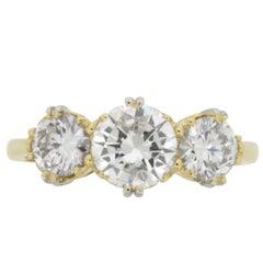 Victorian Inspired Three-Stone Diamond Ring, circa 1950s