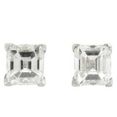 1.64 Carat Asscher Millennium Cut Diamond Studs