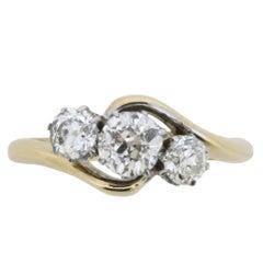 Art Deco Three-Stone Twist Diamond Ring, circa 1918