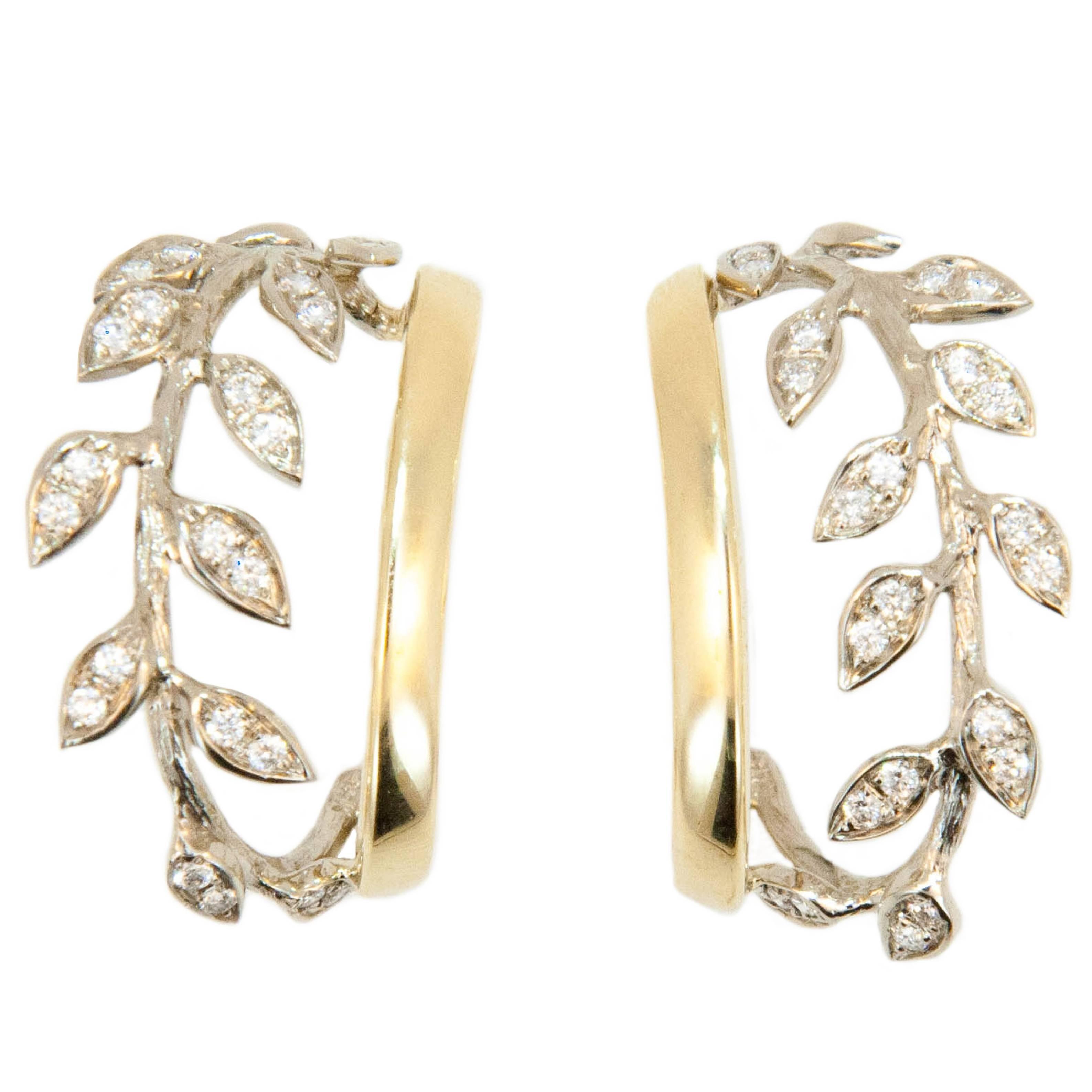 Laura Munder Diamond White Gold Yellow Gold Hoop Earrings