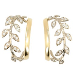 Laura Munder Diamond White Gold Yellow Gold Hoop Earrings