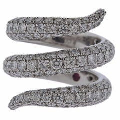Roberto Coin Diamond Gold Cobra Snake Wrap Ring