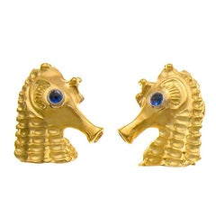 Sapphire Eyes 18 Karat Gold Seahorse Cufflinks by John Landrum Bryant