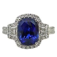 4.29 Carat Cushion Cut Sapphire and Diamond Engagement Ring