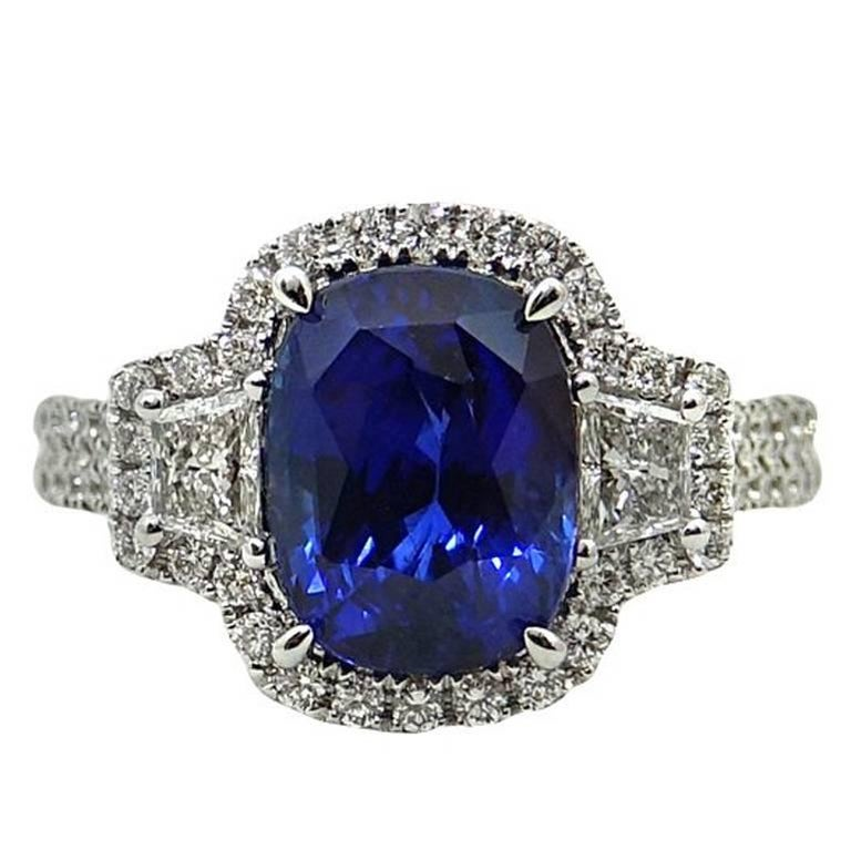 4.29 Carat Cushion Cut Sapphire and Diamond Engagement Ring