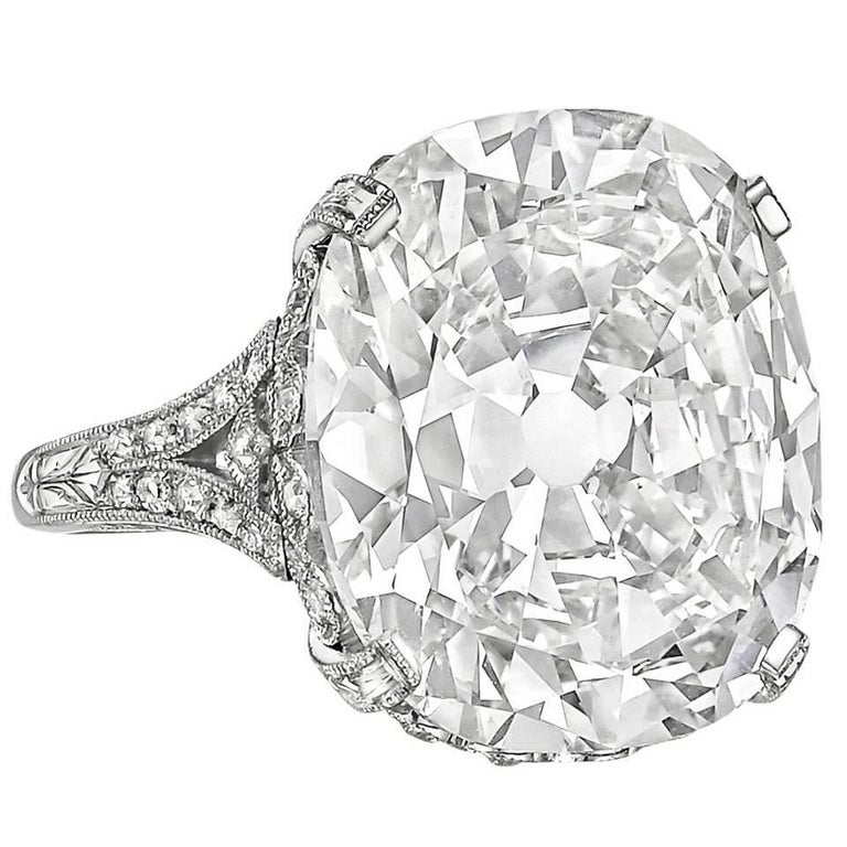 16.18 Carat Cushion Brilliant-Cut Diamond Engagement Ring For Sale