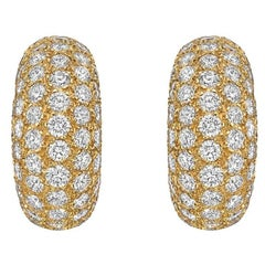 Van Cleef & Arpels Diamond Domed Half-Hoop Earrings