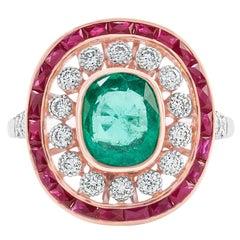 Natural Emerald Natural Ruby Diamond Dress Ring