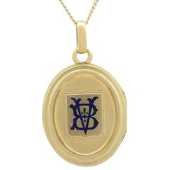 Victorian Blue Enamel Yellow Gold Locket