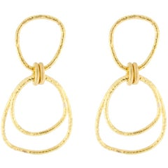 Jona 18 Karat Yellow Gold Irregular Hoop Pendant Earrings