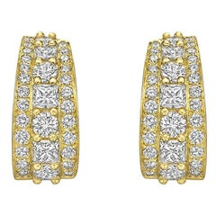 Van Cleef & Arpels Yellow Gold Three-Row Diamond Earclips
