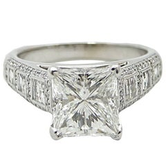 3.57 Carat Princess Cut Diamond White Gold Engagement Ring