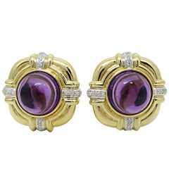 26.00 Carat Cabochon Amethyst Yellow Gold Earrings